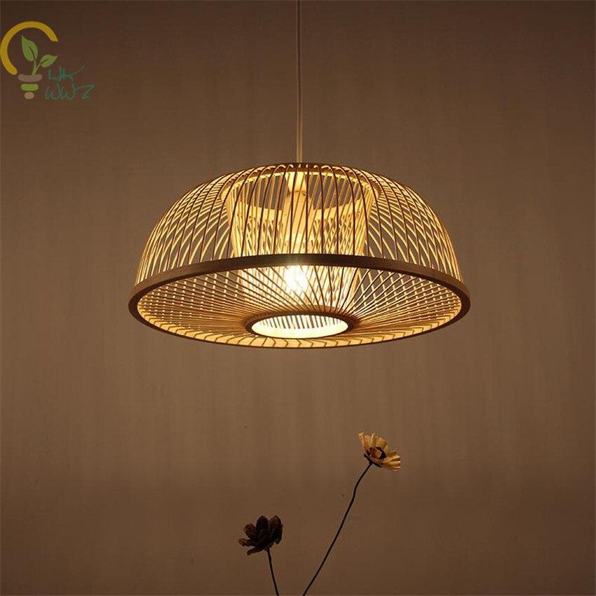 Ручной бамбуковый Плетеный Круглый ротанговый светодиодный подвесной светильник китайская подвеска лампа Lustre Luminaire для учебы чая комнаты