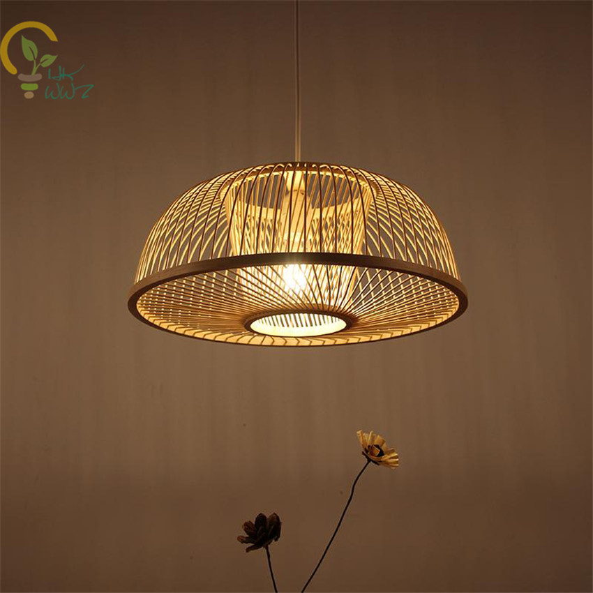 Hand Woven Bamboo Wicker Rattan Round Led Pendant Light