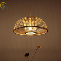 Hand Woven Bamboo Wicker Rattan Round Led Pendant Light Fixture Chinese Pendant Lamp Lustre Luminaire for Study Tea Room Balcony