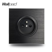 цены Wallpad L6 Black Satin Metal French Wall Electrical Power Socket Round Brushed Aluminum, 86 * 86 mm