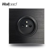 Wallpad – prise électrique murale française en métal satiné noir, aluminium brossé, 86x86mm