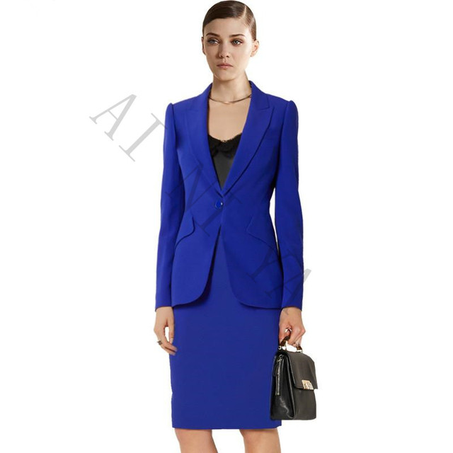 Royal Blue Women Skirt Suits Slim Fit Ladies Skirt Jacket 2 Piece
