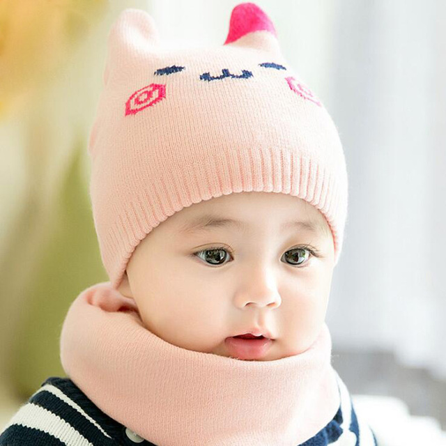08e3ba94f US $4.49 25% OFF|2Pcs/Set Baby Hat Knitted Baby Winter Hat Scarf Newborn  Boy Girl Hats Warm Cartoon Cat Ear Caps Infant Bonnet Beanie 0 18M-in Hats  & ...