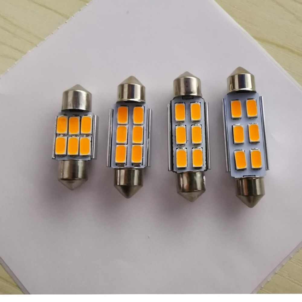 Car Interior Light Festoon CANBUS 31mm 36mm 39mm 41mm 6 LED SMD 5630 Yellow / Warm White ERROR FREE Dome Light 12V