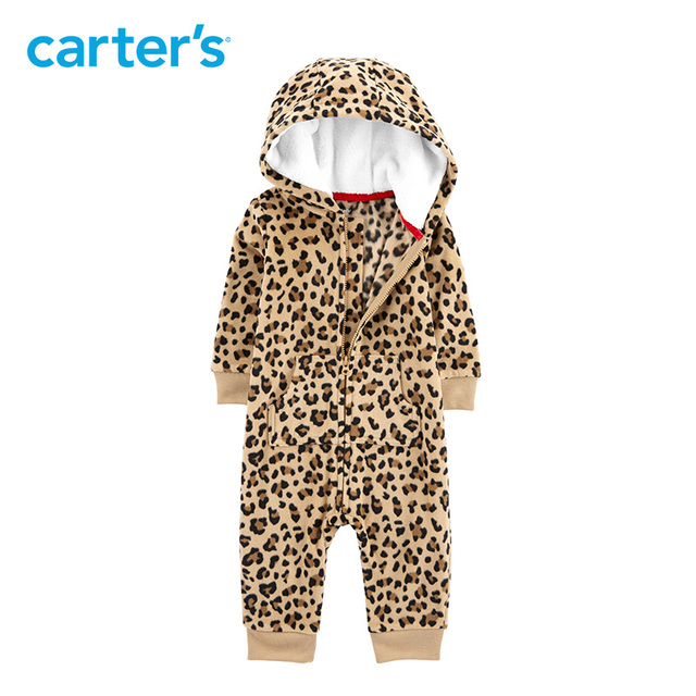 6544a7e499 Carters Baby Boy Rompers Cheetah Hooded Fleece Jumpsuit Leopard print long  sleeve hooded baby girl jumpsuit 118I725