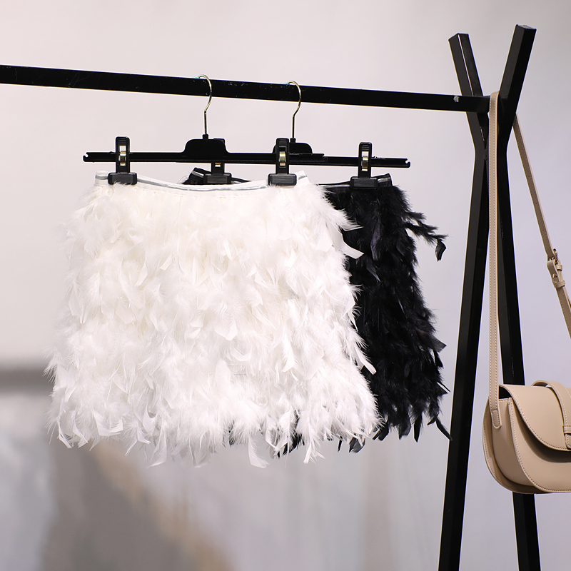 Negro Tallas Mujer Señoras Negro Blanco Faldas Plumas Para Elástico Mini Falda Párr Grandes Las Saia Cintura Alta Mujeres Sexy Moda De blanco Gtgyff H5aqwq