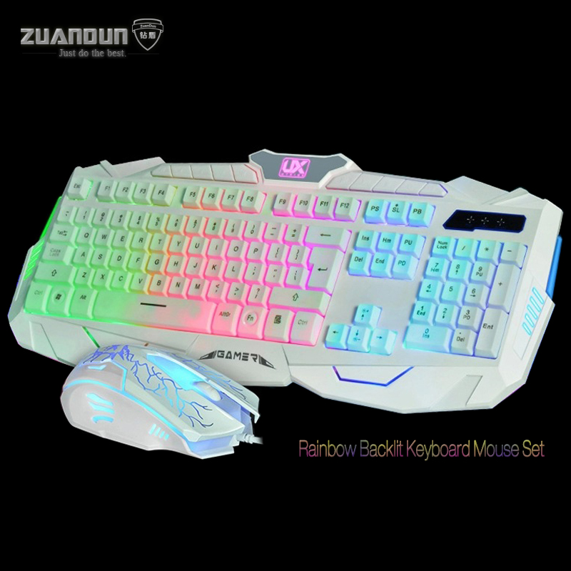 7 Color Backlit LED Switchable USB Wired Keyboard Mouse Combos for Computer Mouse Mice Gaming Keyboard 19 keys without Conflict