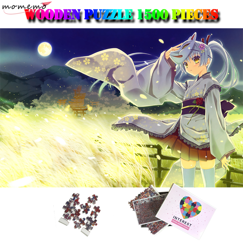 MOMEMO Summer Night <font><b>Jigsaw</b></font> <font><b>Puzzle</b></font> Wooden <font><b>1500</b></font> <font><b>Pieces</b></font> Adults Difficult Anime Girl <font><b>Puzzle</b></font> Customized Decompression <font><b>Puzzle</b></font> Toy Gift image