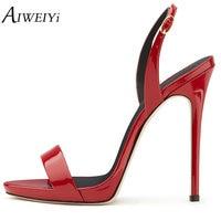 AIWEIYi Gladiator Sandal Shoes For Women Summer Stiletto Heel Sandals Open Toe Platform Pumps Buckle Strap