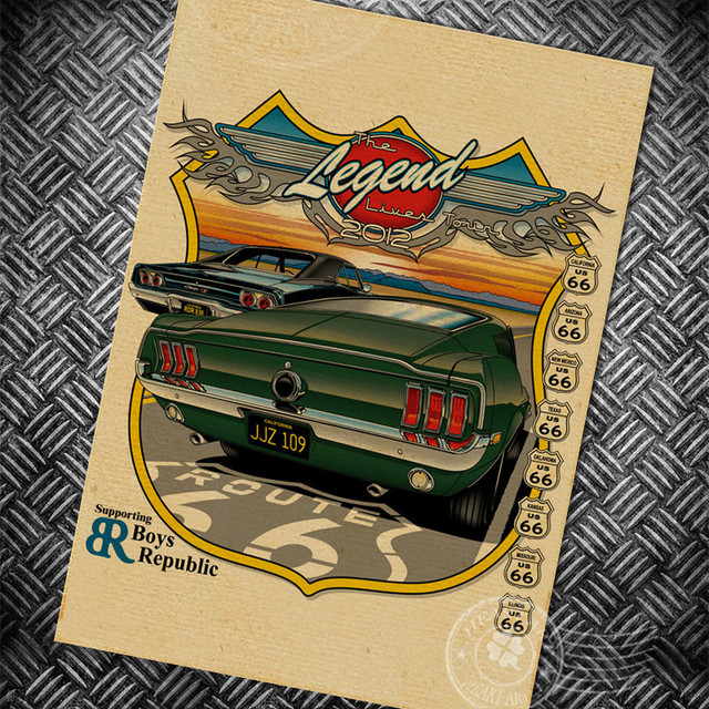 Vintage paper poster usa route 66 car retro wall art painting bar cafe print picture home