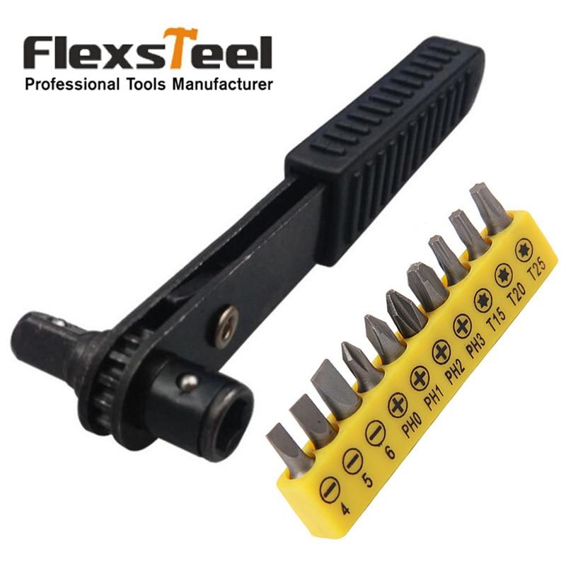Flexsteel 11pcs/set 1/4 Drive Mini Size Ratcheting Right Angle Screwdriver+10pcs CRV Bit Set Quarter Pole Socket Spanner Wrench