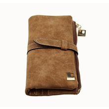Retro matte double drawstring network explosion models Korean womens long wallet cartera mujer Doka