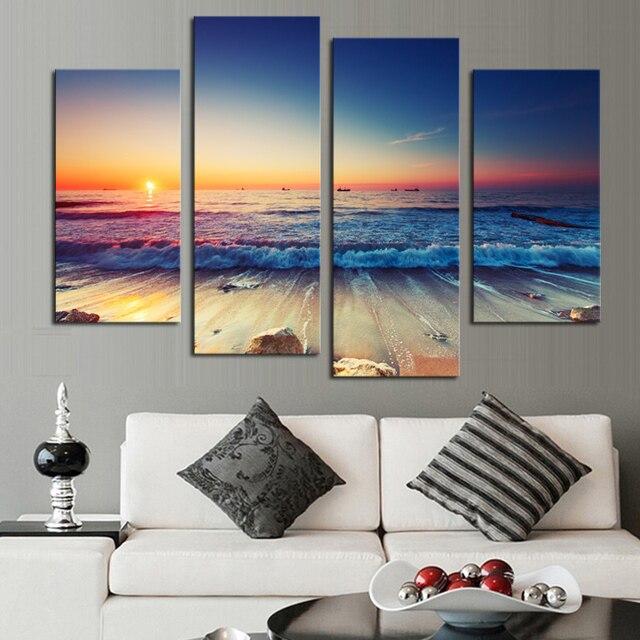 4 Panels (kein Rahmen) Moderne Printed Sea Wave Landschaft Wand Bilder Fur Wohnzimmer  Moderne