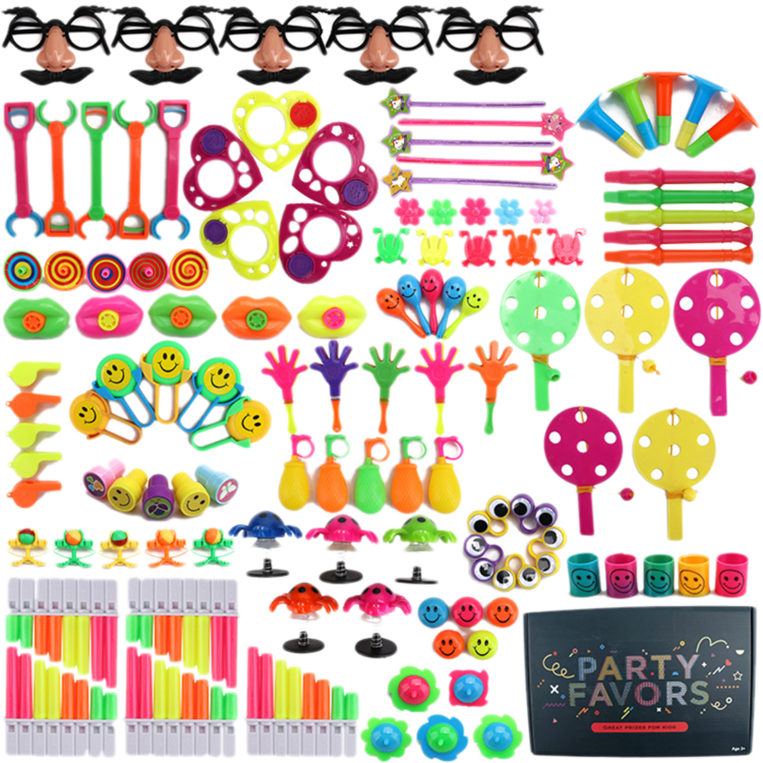 120Pcs Children Kid's Party Toys Cartoon Hat Wave Plate Mustache Glasses Mouth Whistle Toys Party Prop Birthday Party