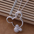 Factory wholesale silver plated charm crystal zircon Mickey pendant necklace fashion noble women jewelry free shipping Kinsle