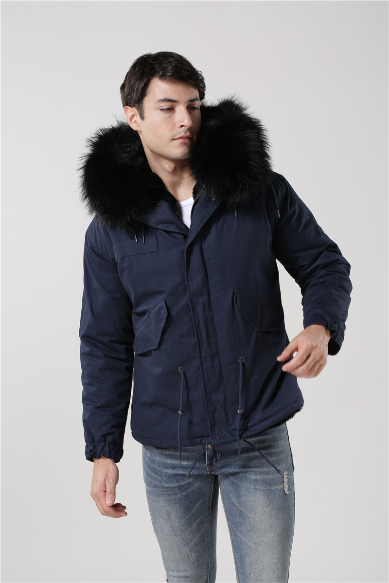 High quality dark blue coat black fur real big raccoon fur collar ...