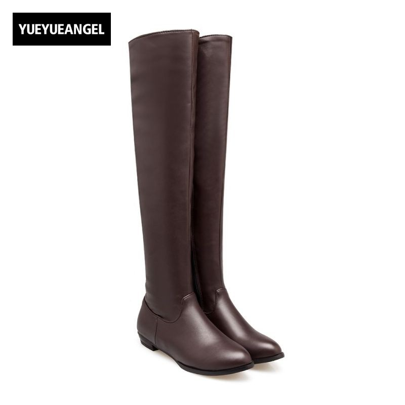 Fashion Retro Knight Boots Block Low Heel Comfort Fleece Lining Over Knee High Boots Motorcycle Womens Shoes Zip PU Riding Boots peter block stewardship choosing service over self interest