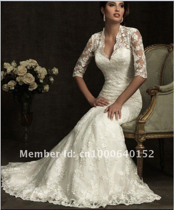 Discount Designer Wedding Gowns: Wholesale Discount Lace Long Sleeve Designer Wedding Dress