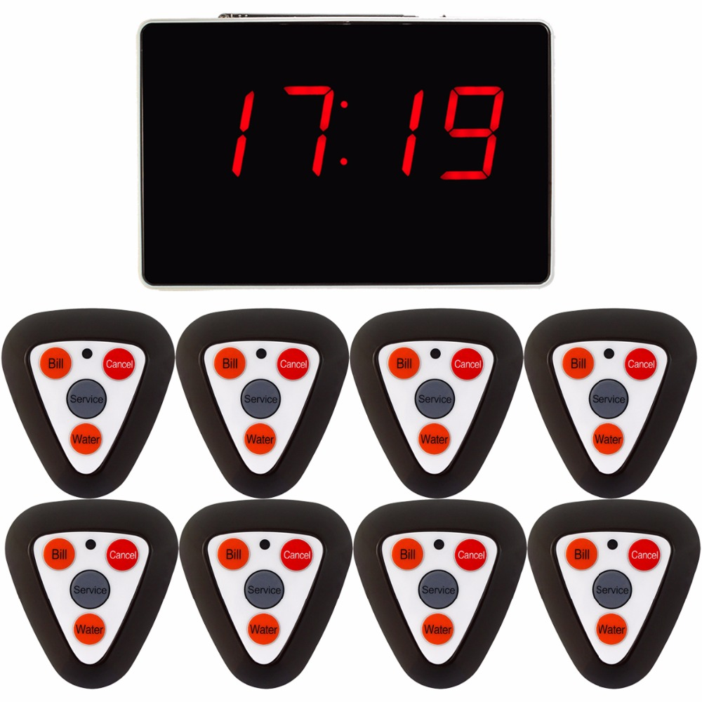 Restaurant Waiter Calling System Wireless Guest Call Pager Voice Reporting Broadcast With 1 Receiver Host + 8 Call Button F3298F hot selling restaurant wireless waiter buzzer call button system 1 display 2 black watch pager 30 black table call bells