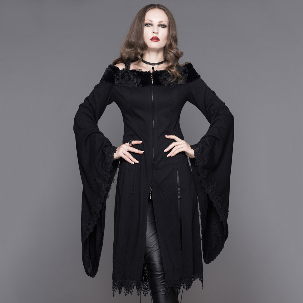 Devil Fashion Steampunk Women Gothic Long Flare Sleeves Jackets Punk Sexy Off Shoulder Fur Wrap Coats with Lace Cuffs