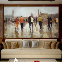 Hand Painted Canvas Oil Paintings People in the Square Christmas Decorations for Home Wall Art Knife Oil Painting Art Dropship