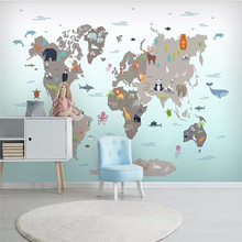 Custom wallpaper Nordic hand-painted cartoon geometry animal children's room mural background wall painting waterproof material free shipping cartoon wallpaper children room bedroom retro wood frame background wallpaper hand painted animal mural
