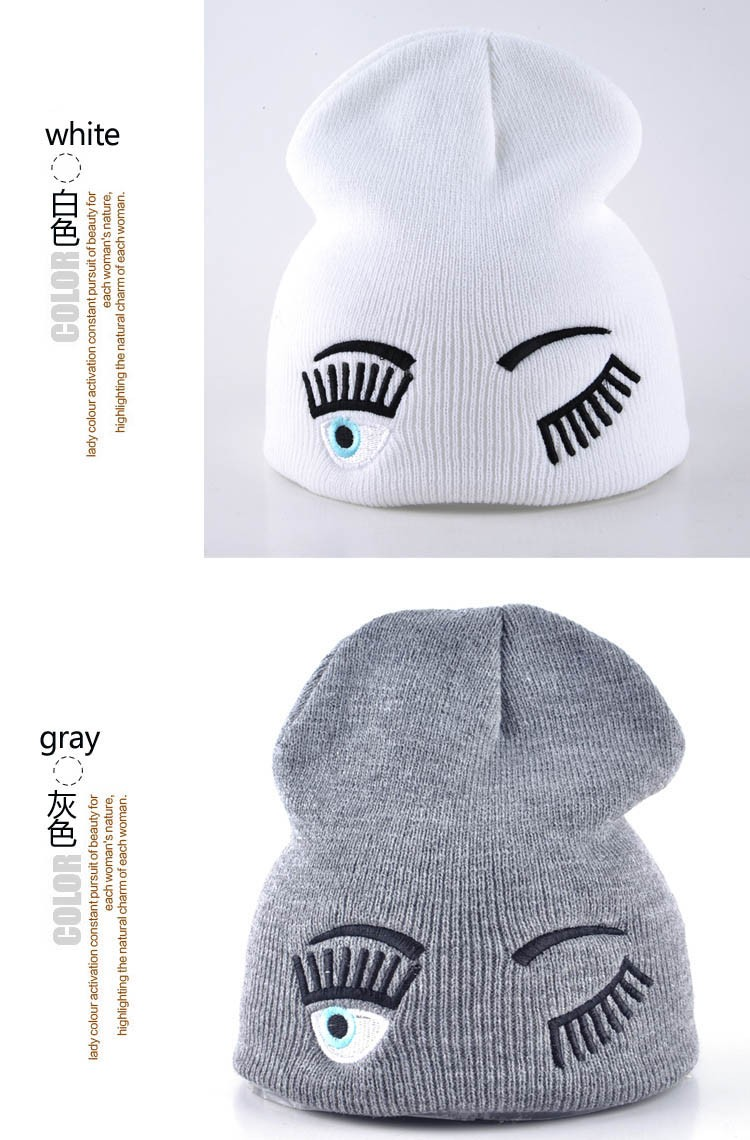 2017 new winter hats for woman striped solid caps girl Knit cap woman eye lashes facial expression beanies gorro 14