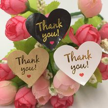 "100pcs/lot gold "" Thank You"" Kawaii heart adhesive stickers for homemade bakery&gift & wedding decoration(China)"