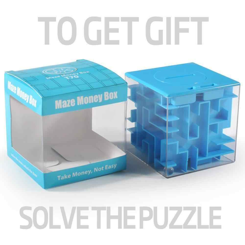 RCtown Money Maze Unique Way to Give Small Gifts Perfect Gift Puzzle Box for Kids Cool Dollar Coin Piggy Bank Toys HWD30
