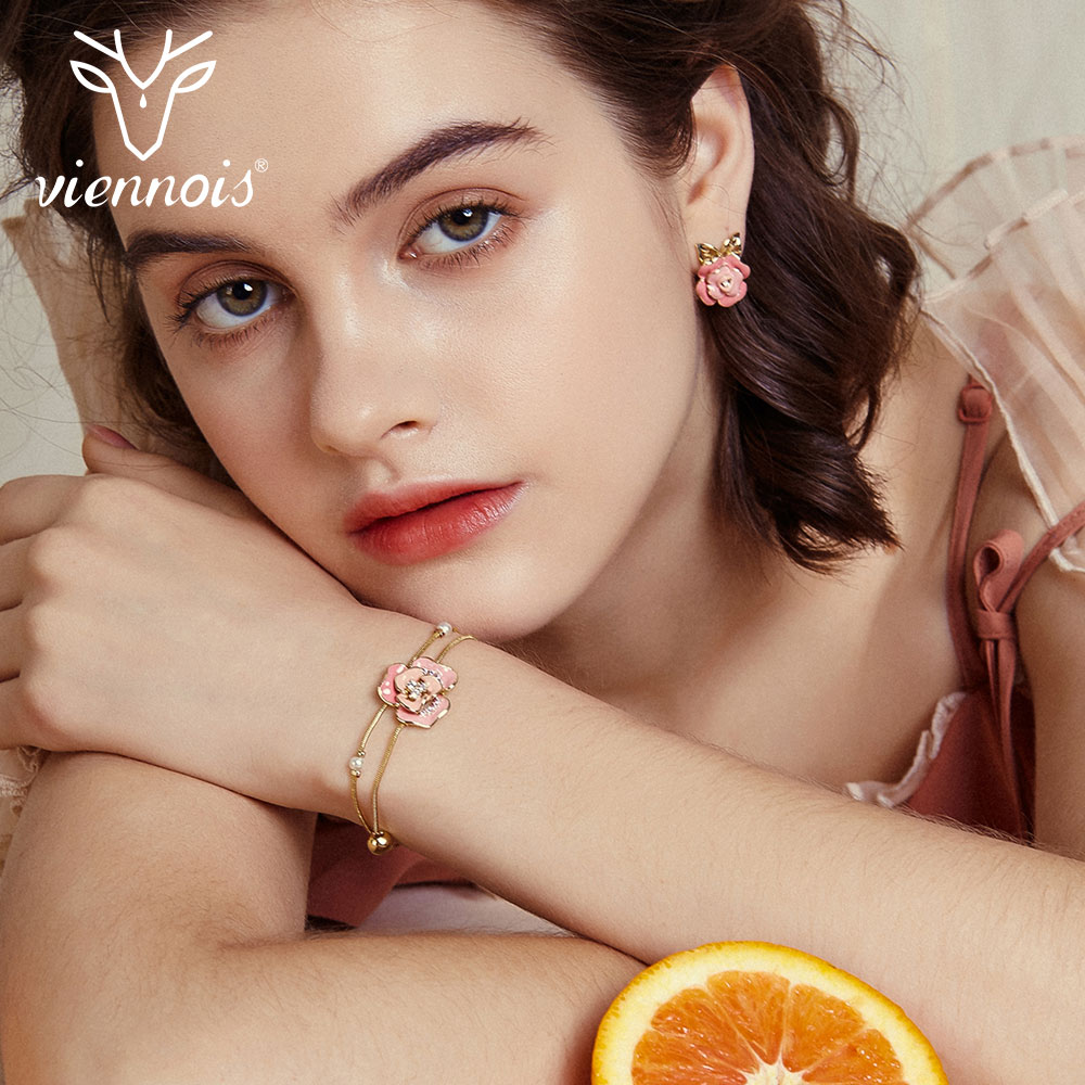 Viennois Chain-Bracelets Bangles Flower Rhinestone Female Jewelry Rose-Gold-Color Women