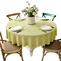 1Pc Home Decorating Modern Style Round Tablecloth Cotton Linen Blending Table cloth Solid Table Cover Accept Customize