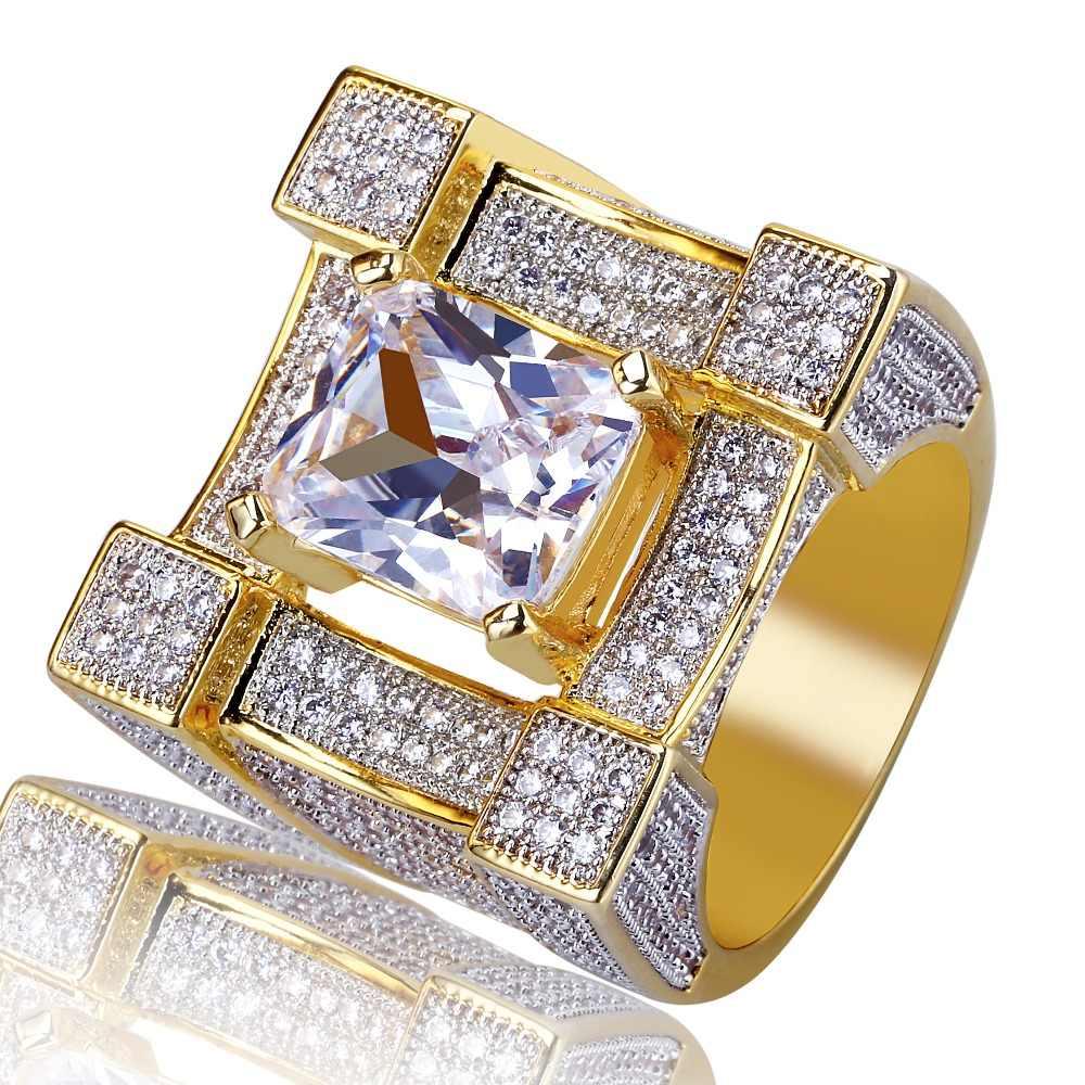 TOPGRILLZ Hip Hop ผู้ชายเครื่องประดับแหวนทองสีแผ่น Micro Pave Cubic Zircon แหวนบุคลิกภาพแฟชั่น Glamour เครื่องประดับของขวัญคนรัก