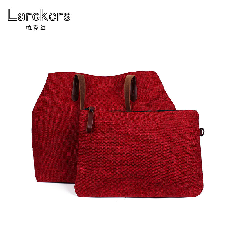 Larckers women linen shoulder bag solid womens hand bag group national ladies hand bag cowhide grip women casual tote bag