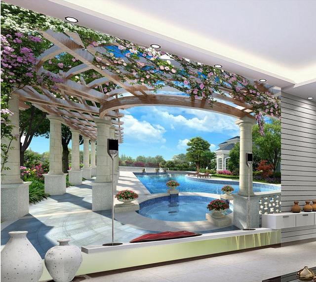 Luxus Villa 3D Pool Hintergrund 3d Wandbilder Wallpaper Fr Wohnzimmer Wnde 3 D