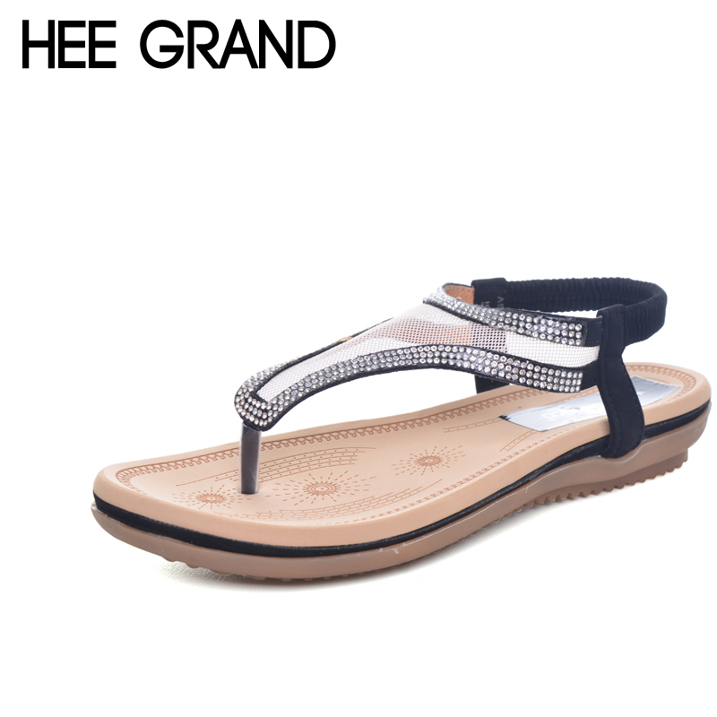 HEE GRAND Crystal Flip Flops 2017 Mesh Flat Sandals Summer Beach Casual Shoes Platform Slip On Shoes Woman Size 35-41 XWZ3654 hee grand summer flip flops gladiator sandals slip on wedges platform shoes woman gold silver casual flats women shoes xwz2907