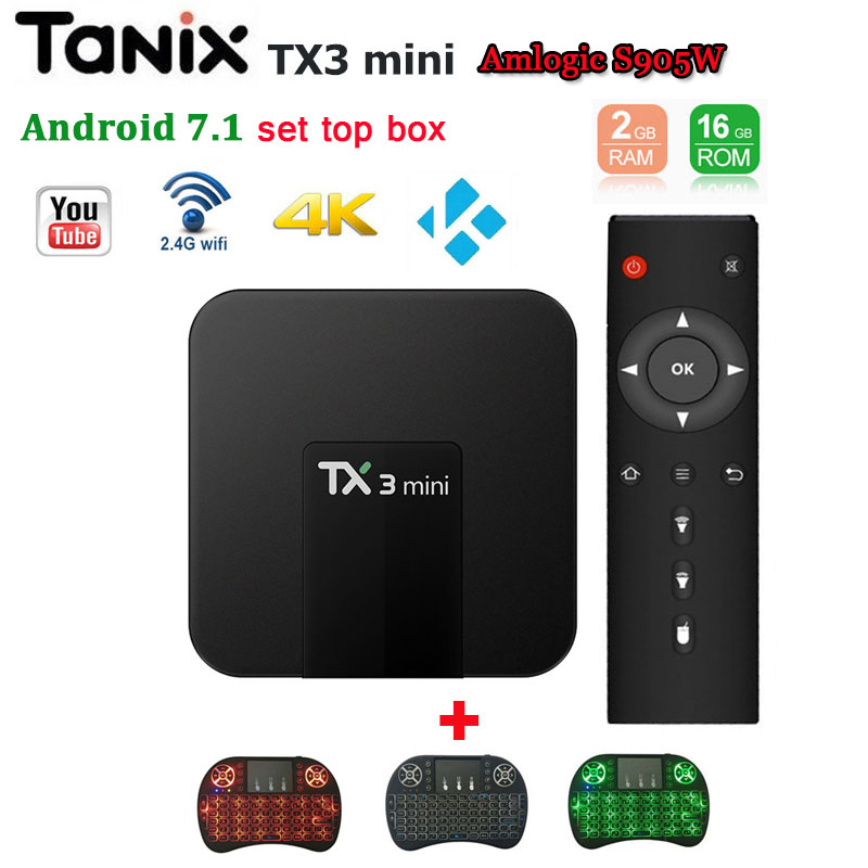 Android 7.1 TV Box <font><b>TX3</b></font> <font><b>mini</b></font> Amlogic S905W 2GB 16GB support 4K HD 2.4G wifi Youtube NETFLIX iptv box Media Player set top box x96 image