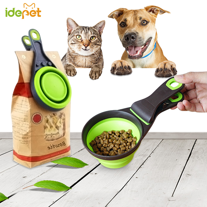 Folded Pet Dog Cat Feeders Bowl Food Scoop Spoon Sealing Clipper Food Storage Pet Cat Dog Supplies Collapsible Doggie Snack Cup