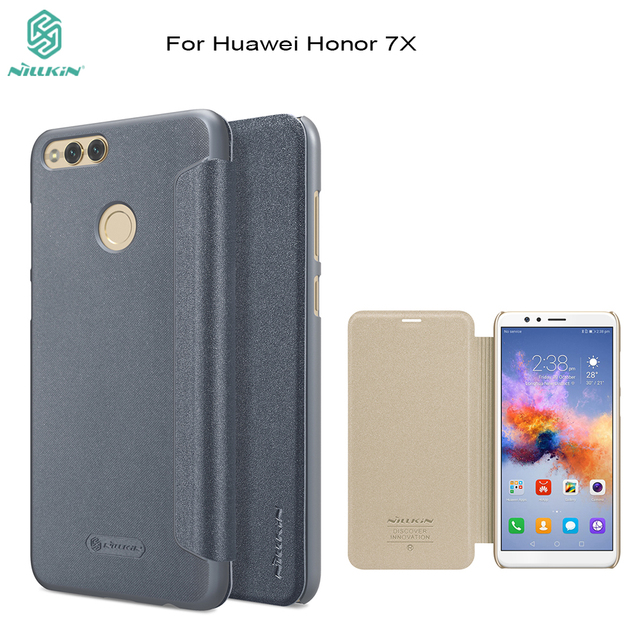 purchase cheap 13f6a ca7b4 US $7.91 35% OFF|NILLKIN case for huawei honor 7X cover 5.93 inch flip  cover PU leather case smart wake up function for honor 7X phone bag-in Flip  ...