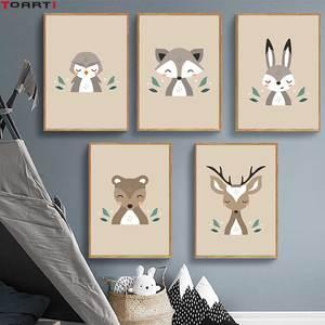 Image 1 - Foresta Del Fumetto Animali Stampe Poster Moderna di Arte Della Parete Immagini Scimmia Deer Fox della Tela di Canapa Pittura Per Bambini Camera Dei Bambini Complementi Arredo Casa