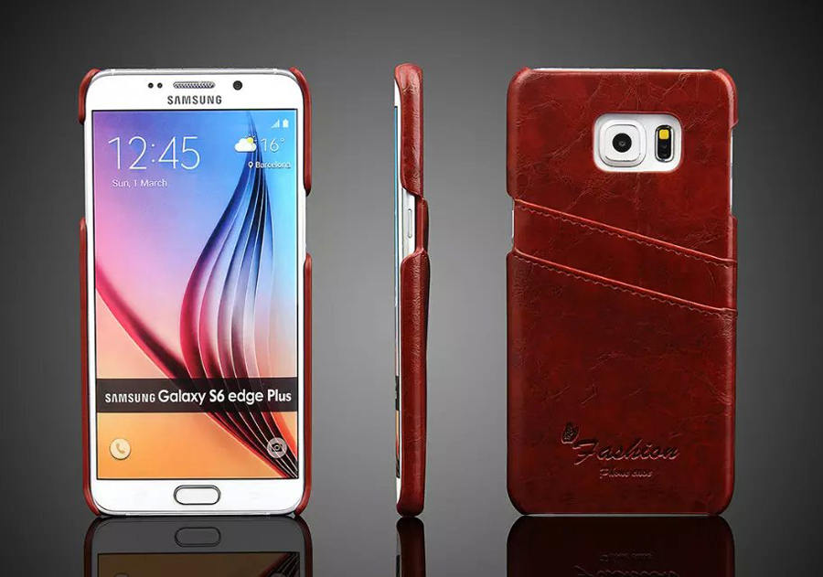 Genuine Leather Back Cover Case for Samsung Galaxy S6 Edge Plus Oil Wax Brand Original with Card Holder Coque for S6Edge Plus