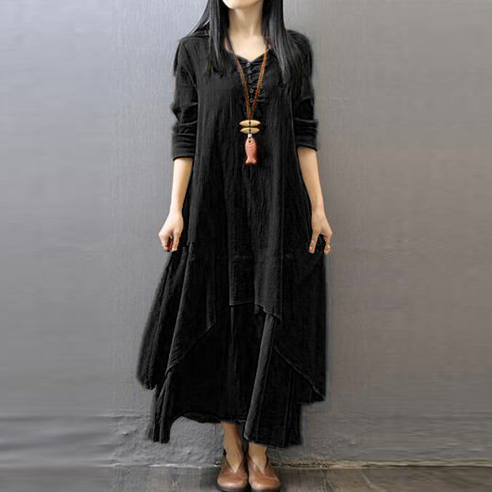 ba652b9dc5 ... Boho Casual Solid Irregular Robe vestido. Fashion Large Size dress  Women Loose Cotton Linen Maxi Dress O-Neck Long Sleeve Dresses