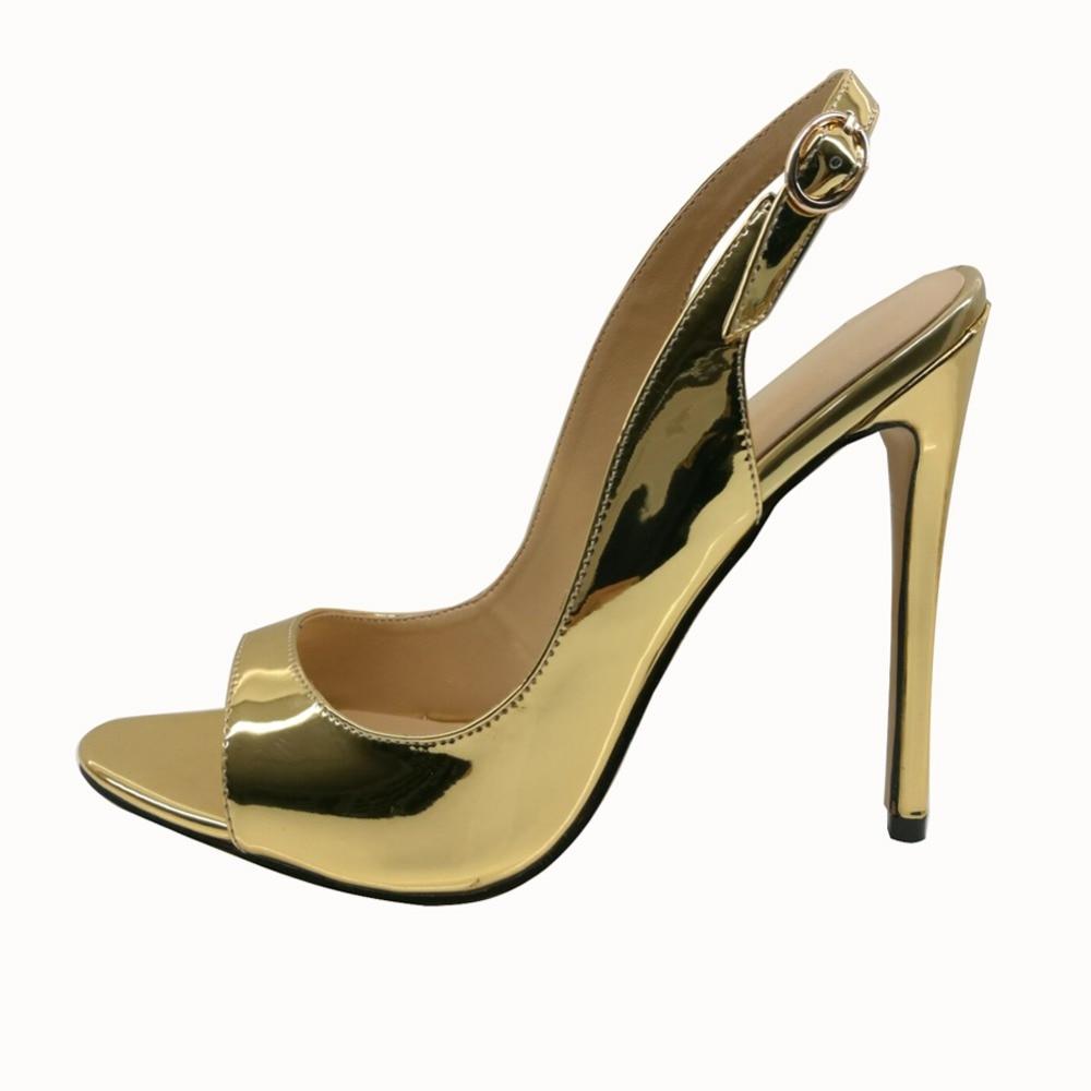 ФОТО Amourplato Women's 120mm High  Heel Open Toe Slingback Sandals Buckle Closure Peep Toe Patent Dress Shoes