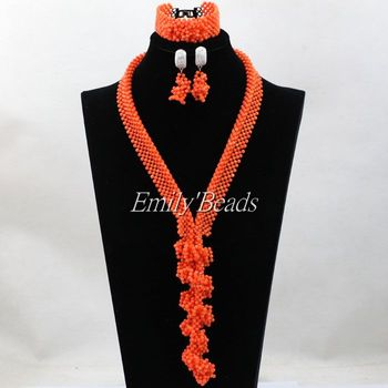High Quality African Coral Beads Necklace Set Nigerian Wedding Fashion Costume Jewelry Set Natural Coral Free Shipping CJ702