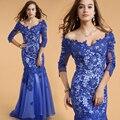 2016 nueva moda Blue Mermaid vestido con cuello en V del grano de Selena Gomez Sexy banquete de boda Formal Beyonce Celebrity Dresses 61302
