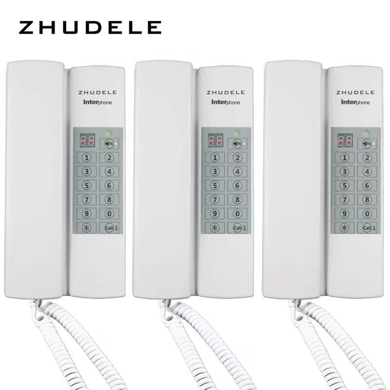 Entsperren optional Zhudele Top Qualität Sicher Und Komfortabel Hause Sprechanlage 3 Griffe Audio-gegensprechanlage W/t Broadcast/gruppe Anruf