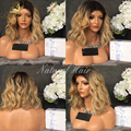 8A wavy style short hair ombre human hair wigs glueless full lace bob wig brazilian virgin lace front human hair wigs