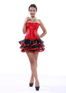 Image 5 - Carnival Party Sexy Satin Lingerie Corset and Bustier Mini Tutu Petticoat Skirt Fancy Wedding Dress Costume S 6XL