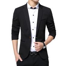 Fashion Men Blazer Business causal Slim Fit suit jacket Male long sleeve pure color Spring Autumn Blazer coat Large Size M-5XL