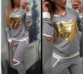 2015 Nueva Primavera ropa mujer sudaderas con capucha del chándal set traje trajes de las mujeres de Oro Del Corazón set sudaderas + pantalones