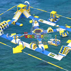 0.9mm pvc floating commercial inflatable water slide park